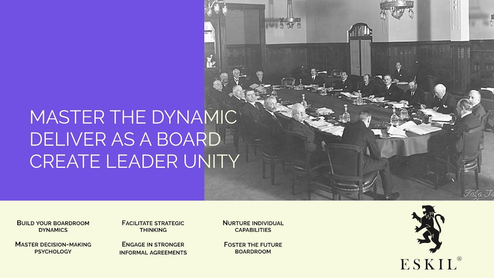 Eskil is a boardroom development company - supporting boards in such areas as governance, compliance, boardroom ethics as well as the focus shift to the future board - we help master the dynamic in the room